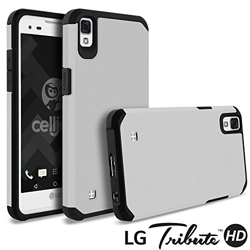 LG Tribute HD Case, LG X Style Case, Celljoy [Liquid Armor] (Metallic Silver) LG LS676 Slim Fit [Dual Layer Series] TPU Protective Hybrid [[Shockproof]] - Thin Hard Cover