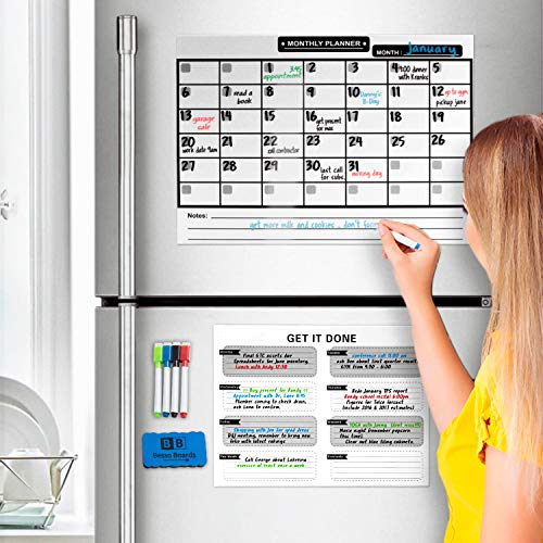 Magnetic Dry Erase Calendar for Refrigerator [17x12]& Weekly Magnetic Calendar | Monthly Whiteboard Wall Calendar and Fridge Board Planner | Dry Erase Markers & Eraser | 2019 Home or ()