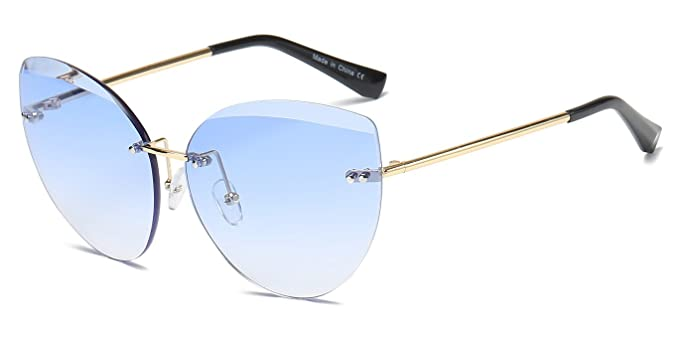 c5c02c885872 Cramilo Fashion Designer Rimless Colored Oversize Round Cat Eye Sunglasses  for Women