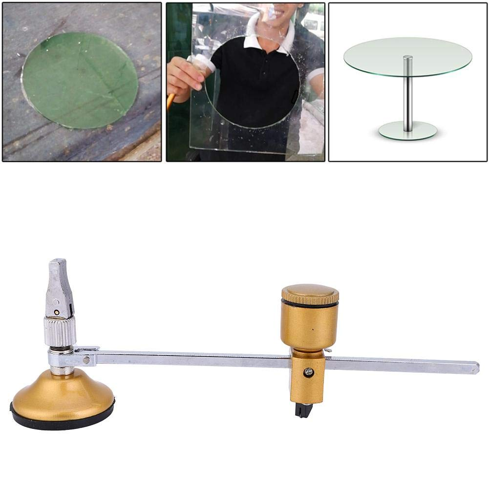 Cortadora circular de cristal 60 cm 23,6 di/ámetro m/áx tipo br/újulas Gobesty ajustable 2 unidades de corte de vidrio para azulejos de vidrio con ventosa