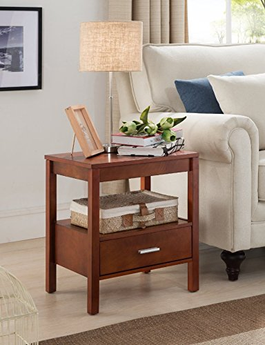 Kings Brand Walnut Finish Wood Side End Table Night Stand with Storage