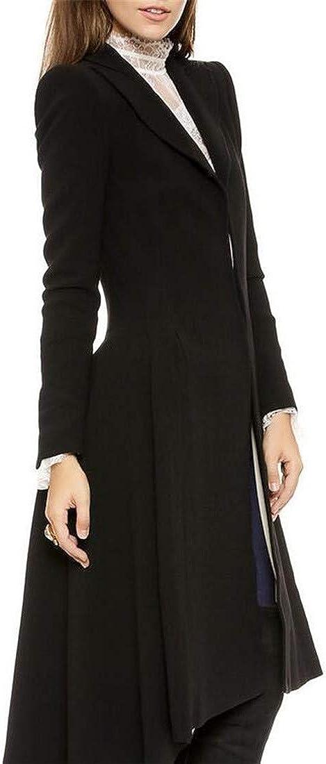GloryA Womens Slim Wool Blend Lapel Overcoat Tuxedo Peacoats