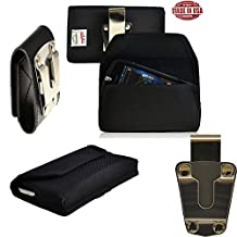 Rugged Heavy Duty Black Canvas Duty Belt Side Case with Metal Clips fits Motorola Moto X with the Otterbox Defender or Commuter Case on it. Magnetic Closure. Great for Police, Contractors, Landscapers and Tough Jobs.