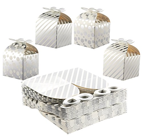 Paper Treat Boxes - 36-Pack Gable Favor Boxes, Fun Party Play Goodie Boxes - 3 Dozen Stripe Polka Dot Loot Gift Boxes Birthday Party, Baby Shower, Wedding - Silver, 4 Designs, 3.7 x 3.2 x 3.7 Inches