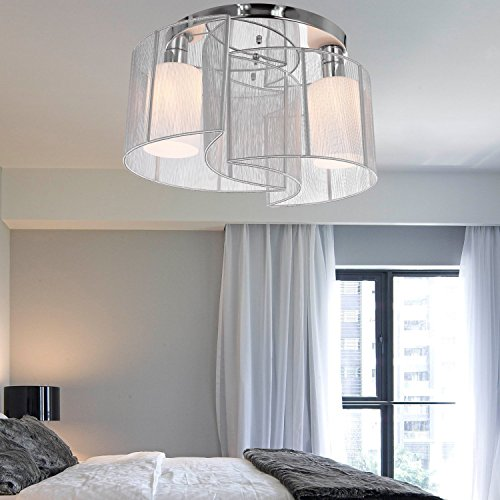 Y&LChrome Semi Circle Round Shade Semi Flush Mount Chandelier 2 lights Ceiling Fixture