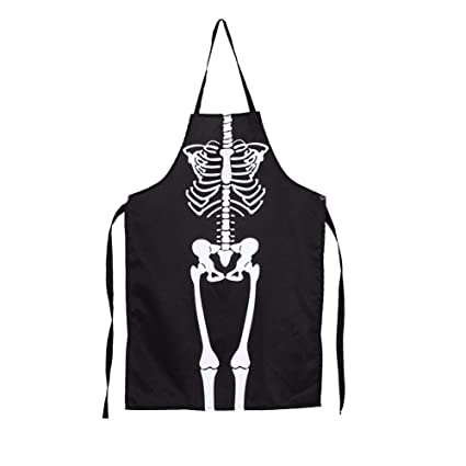 Delantal de Cocina de Algodón Esqueleto Halloween para Hornear Jardinería Restaurante Barbacoa para Mujeres Hombres