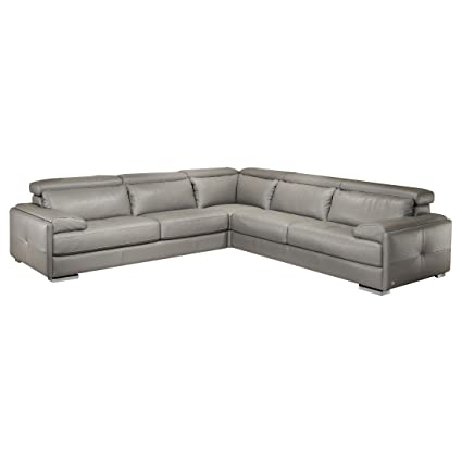Amazon.com: Modern Gray Sectional Sofa in Top Grain Thick ...
