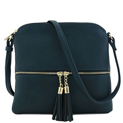 Lightweight Medium Crossbody Bag with Tassel ()