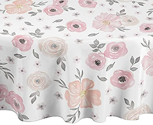 Grey and White Shabby Chic Watercolor Rose Floral Tablecloths Dining Room Kitchen Round 90 Grey and White Shabby Chic Watercolor Rose Floral Tablecloths Dining Room Kitchen Round 90 A LuxeHome Blush Pink