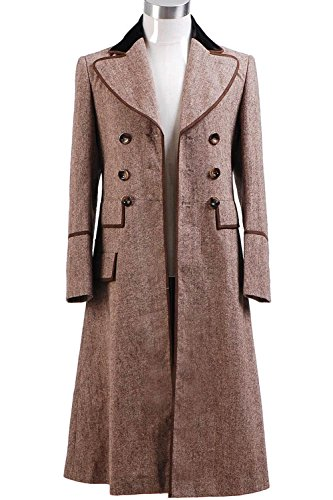 Wolfbar Dr Doctor ECRU Brown Long Trench Coat Cosplay Costume Male (David Tennant Costume)