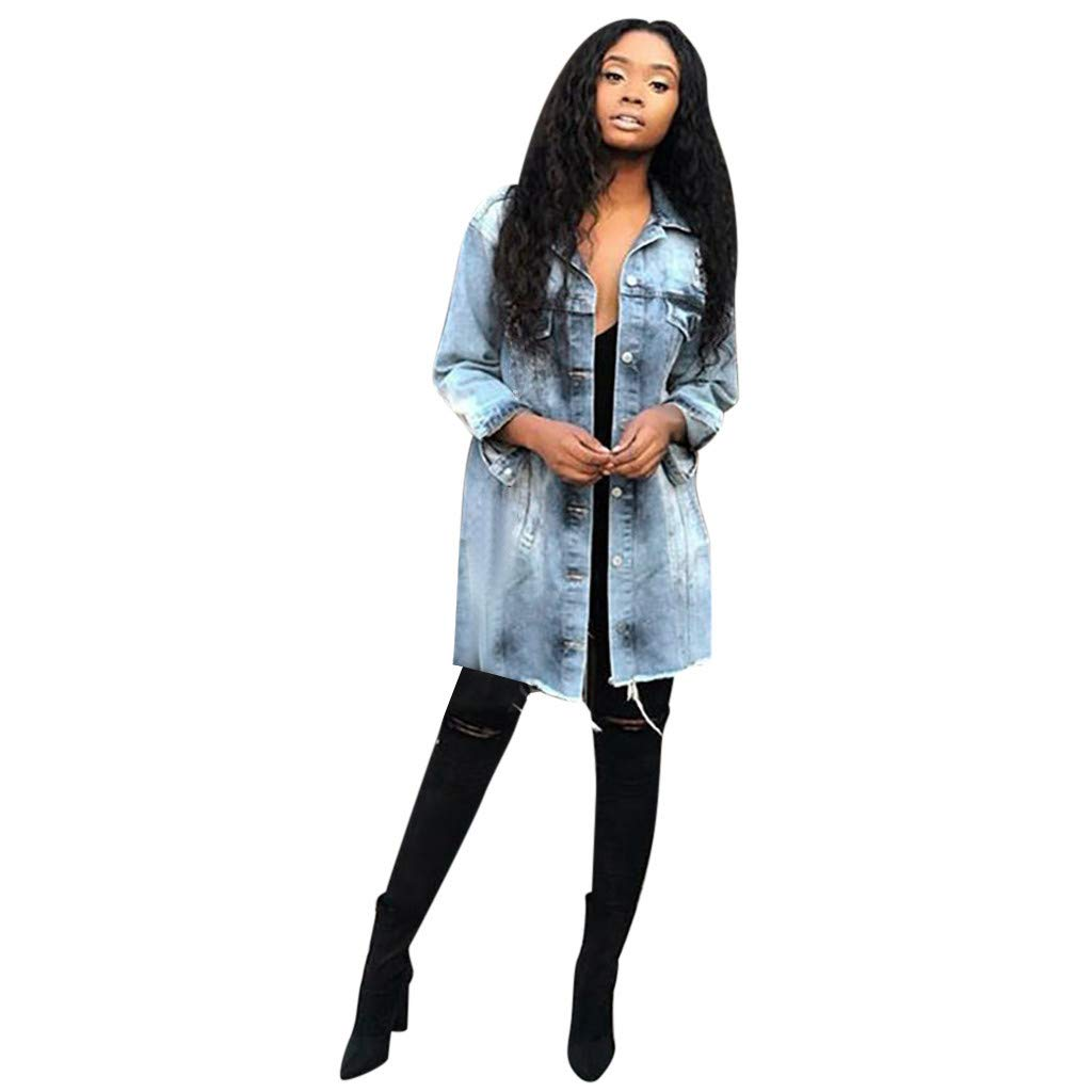 Women's Washed Distressed Boyfriend Jean Denim Jacket by Dunacifa Women Outwear