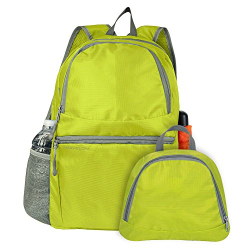 By-Travelon School Backpack, Multi-pocket Packable Hiking Travel Lightweight Backpack, Lime