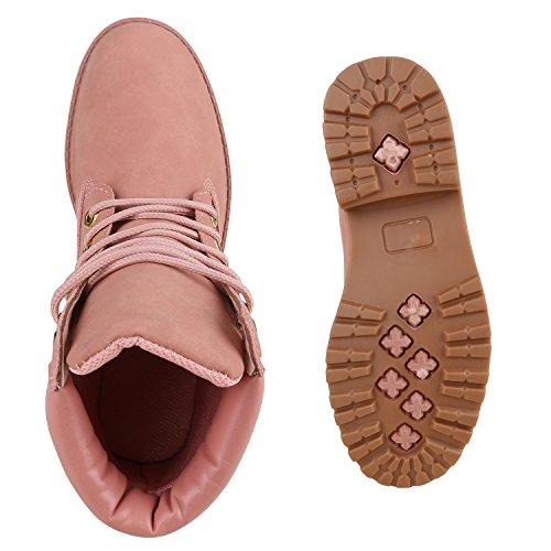 Stiefelparadies Warm Gefütterte Damen Stiefeletten Worker Boots Kunstfell Flandell Rosa Rosa Gold