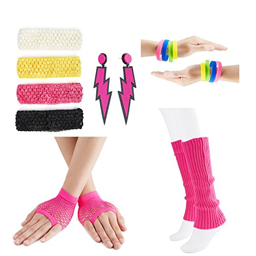 80s Fancy Outfit Costume Accessories Set,Leg Warmers,Fishnet Gloves,Neon Earrings and Neon Beads (OneSize, With Bracelet)