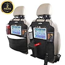 "Oasser Kick Mats Car Backseat Protector with Clear 10"" Ipad Holder and 3 Storage Organizers Extra Tissue Storage Bag 2 pack X Large Size Pockets"