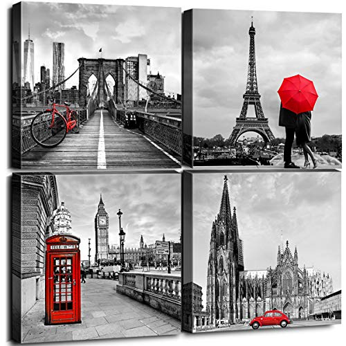 Framed Canvas Wall Art Home Decor for Living Room Black and White Red City Building Architecture Pictures Modern Artwork Brooklyn Bridge Paris Bathroom Office Decorations Set of 4 Panels 12 × 12