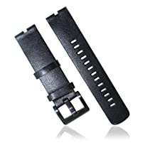 GOOQ® New Replacement Smart Watch Bracelet Leather Watchband Fit for Moto 360 Smartwatch Motorola Moto 360 Watch Band Plus Free Stainless Spring Bar Tool and Screen Protector for Moto 360 Wristband (Leather Black)