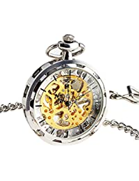 Steampunk Transparent Open Face Pocket Watch for Men Women Silver Skeleton Dial with Chain + Box