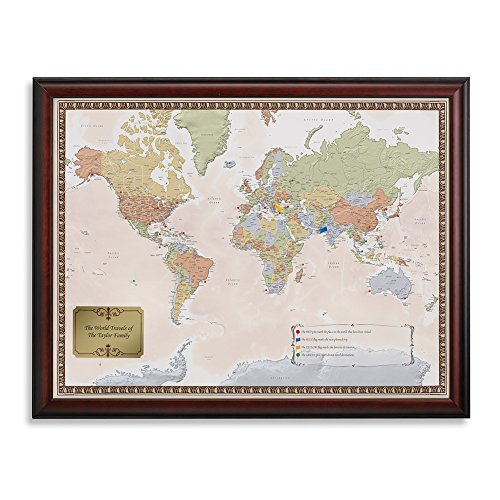 Personalized World Traveler Framed Map Set With Pins - Custom Engraved Crest Up To 50 Characters - Personalized World Map With Pins