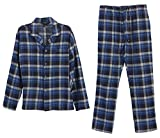 Gioberti 2 Piece Mens Flannel Pajamas, Shirt and Pants Set, Navy / Royal Blue, Small