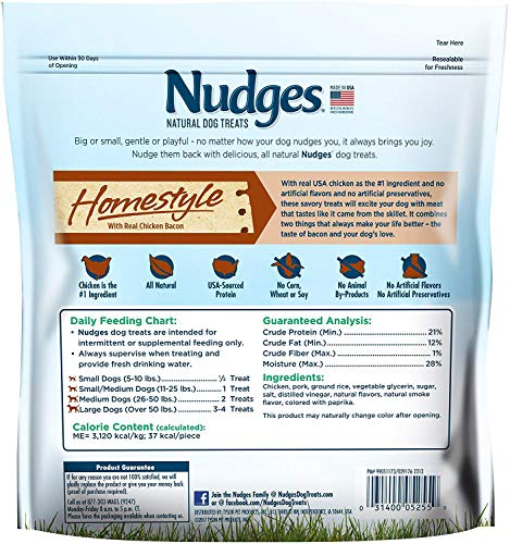 Nudges Chicken Bacon Sizzlers Dog Treats, 16 oz