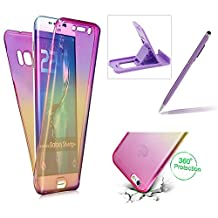 Case for Samsung Galaxy S8 Plus,Silicone TPU Cover for Samsung Galaxy S8 Plus,Herzzer Ultra thin [Gradient Color] Soft TPU Gel Slim Fit Shockproof Scratch Resistant Front and Back Full Body 360 Degree Protective Case for Samsung Galaxy S8 Plus + 1 x Free Purple Cellphone Kickstand + 1 x Free Purple Stylus Pen - Purple + Yellow