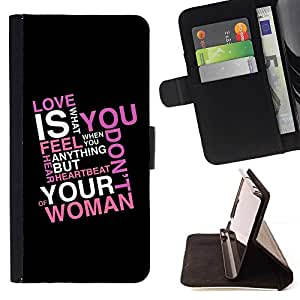 For Samsung Galaxy S6 Case , Love Is What You Feel - la tarjeta de Crédito Slots PU Funda de cuero Monedero caso cubierta de piel