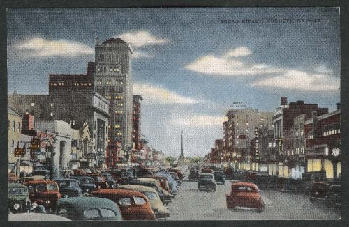 Broad Street Augusta GA evening street scene postcard 1940s - Evening Street Scene