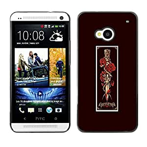 GOODTHINGS ( NO PARA HTC ONE MINI M4) Funda Imagen Diseño Carcasa Tapa Trasera Negro Cover Skin Case para HTC One M7 - rosa daga viñeta cráneo matanza negro