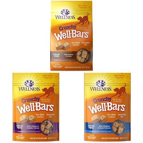 Crunchy Treats Bulk Pack 1: Wellbars Peanuts & Honey 20Oz , Wellbars Chicken And Cheddar 8 Oz, Wellbars Whitefish & Sweet Potato 8 Oz