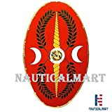 Roman Oval Shield 42'' x 24'' Brass Lined - One Size - Red Armour