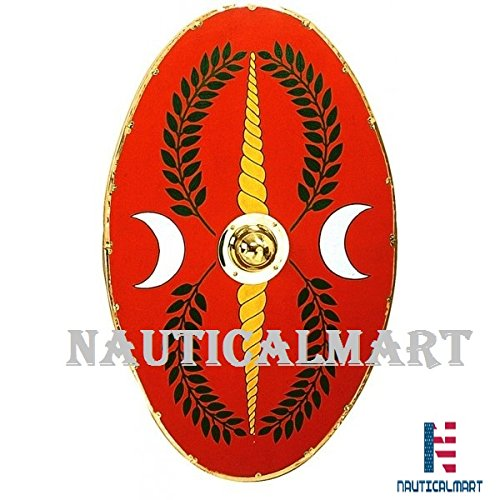 Roman Oval Shield 42'' x 24'' Brass Lined - One Size - Red Armour by NAUTICALMART
