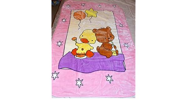 Little Girl with Duck Korean Mink Baby Child Blanket