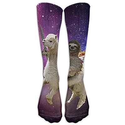 Funny Sloth Riding Llama Cut Fruit Women &Amp; Men Knee High Socks Baseball Athletic Tube Long Stockings -
