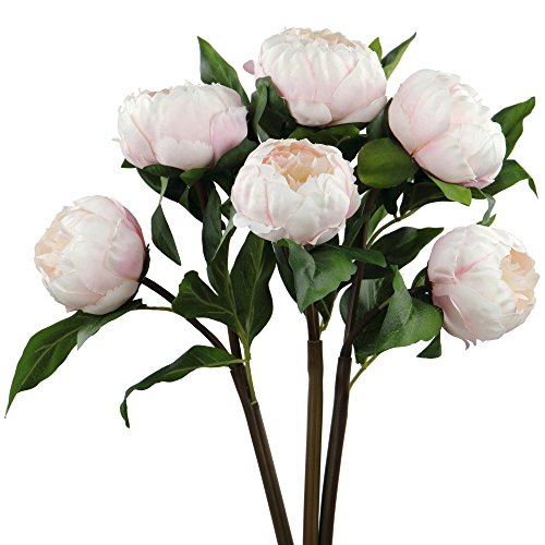 Rinlong 3pcs Vintage Artificial Peony Picks Silk Flowers Sprays Pink for DIY Carft Floral Arrangement Home Decor Wedding Bouquet