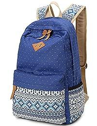 Leaper Geometry Dot Casual Canvas Backpack Bag Fashion Cute Lightweight Backpack(Dark Blue)