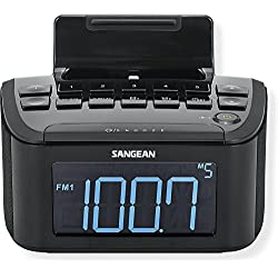 Sangean RCR-28 FM/AM/Aux-in Digital Tuning Clock Radio Compatible with iPhone/iPod, Black; Play, Charge and Cradle your iPhone/iPod ; 15 Station Presets; Display Dimmer Adjustment