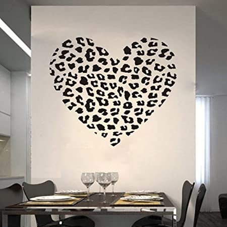 23.6u0026quot; X 27.6u0026quot; Personalized Cheetah Spot Heart Vinyl Wall Decal  Removable Mural Decor Sticker