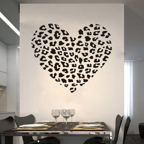 23.6u0026quot; X 27.6u0026quot; Personalized Cheetah Spot Heart Vinyl Wall Decal  Removable Mural Decor Sticker Part 45