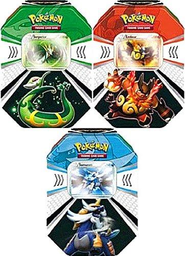 Pokemon Black White Card Game Set of 3 Fall 2011 Evolved Battle Action Tins Serperior, Emboar Samurott