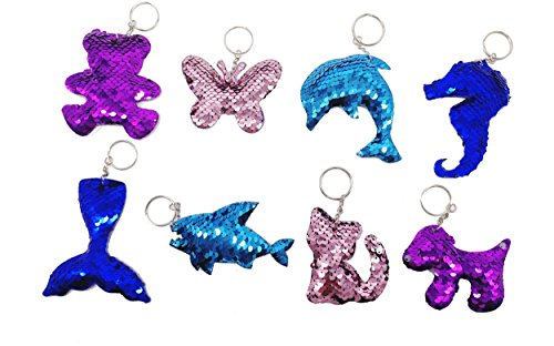 Neathouse 8 Pack Mermaid Sequin Keychain Animal Style Keychain, Keychain Decorations,Novelty Keychain for Kids Party Supplies