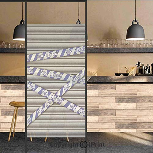 (3D Decorative Privacy Window Films,Metal Shutter with Police Do Not Cross Tape Restricted Area Crime Image Decorative,No-Glue Self Static Cling Glass film for Home Bedroom Bathroom Kitchen Office 24x3)