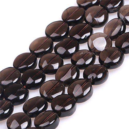 10mm Coin Smoky Quartz Semi Precious Genstone Beads for Jewelry Making Strand 15