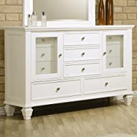 Coaster Storage Dresser with Glass Doors in White Finish
