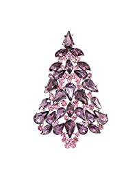 SEPBRIDALS Multicolor Crystals Rhinestone Brooch Women Jewelry Christmas Tree Broaches Pins P5458 (Purple)