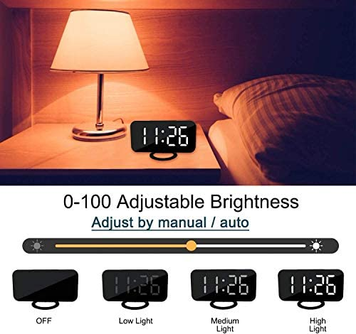 """DIGITAL ALARM CLOCK,6"""" LARGE LED DISPLAY WITH DUAL USB CHARGER PORTS   AUTO DIMMER MODE   EASY SNOOZE FUNCTION, MODERN MIRROR DESK WALL CLOCK FOR BEDROOM HOME OFFICE FOR ALL PEOPLE"""