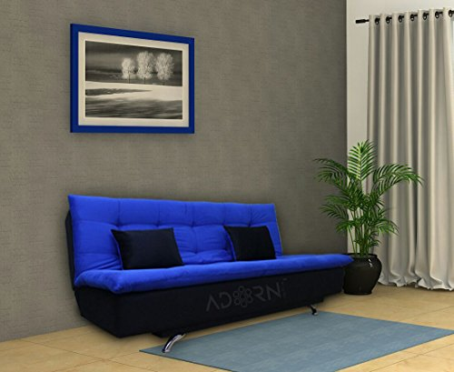adorn india aspen three seater sofa cum bed (blue and black)