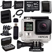 GoPro HERO4 Black + Rechargeable Battery + Dual Battery Charger + Sony 64GB microSDXC + Case for GoPro HERO4 and GoPro Accessories + Tripod Adapter For GoPro Bundle