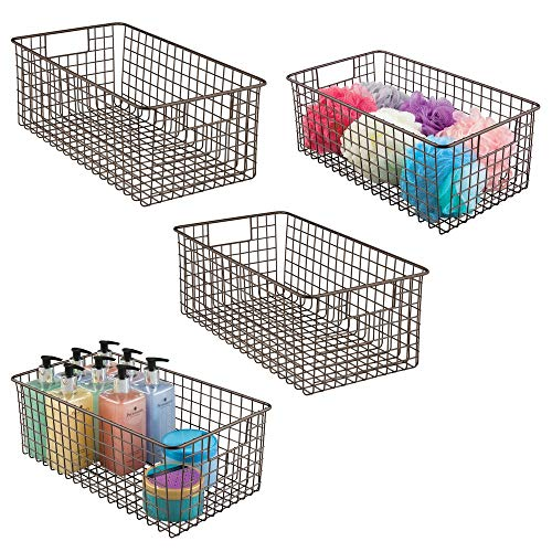 mDesign Farmhouse Decor Metal Wire Bathroom Organizer Storage Bin Basket - for Cabinets, Shelves, Countertops, Bedroom, Kitchen, Laundry Room, Closet, Garage - 16 x 9 x 6 in. - 4 Pack - Bronze