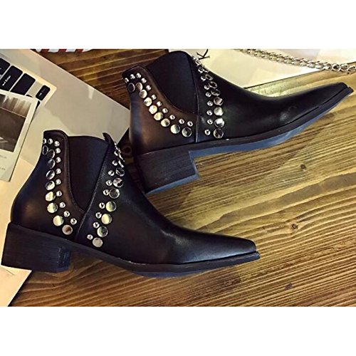 Booties Chunky Black ZHZNVX HSXZ Boots Ankle Boots Boots for Combat Black PU Heel Fall Shoes Casual Women's Comfort Spring q1q7Aw